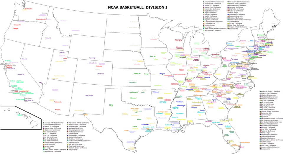 College basketball division 1 teams