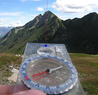 Piloting (navigation) - Fix of position with the hand compass pointing north and the base plate at the point of reference, a mountain peak—the bearing is indicated on a scale.