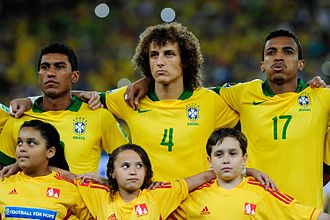 Luiz Gustavo - Brazil's Paulinho, David Luiz and Luiz Gustavo lining up before the 2013 FIFA Confederations Cup Final, which they won