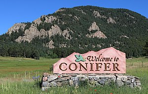 Conifer, Colorado - Sign along Highway 285.