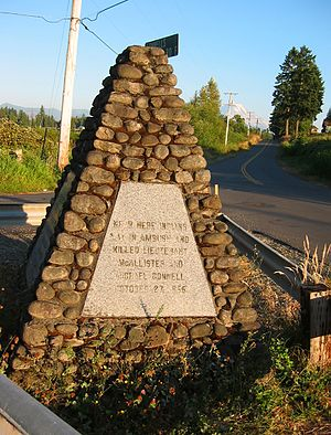 Yakima War - Marker at the site of the ambush of McAllister and Connell, photographed in 2005.