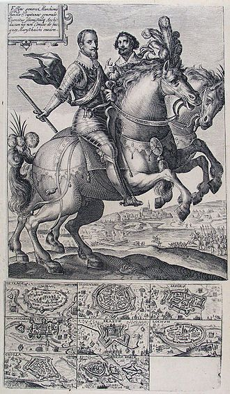 Charles Bonaventure de Longueval, 2nd Count of Bucquoy - Engraving by Chrispijn van der Passe showing the conquests and the equestrian portrait of Ambrogio Spinola, with the Count of Bucquoy riding by his side