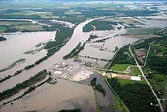 Nebraska's Fort Calhoun Nuclear Generating Station was inundated when the Missouri River flooded in 2011 Corp of Eng. 6-16-11A 267.JPG
