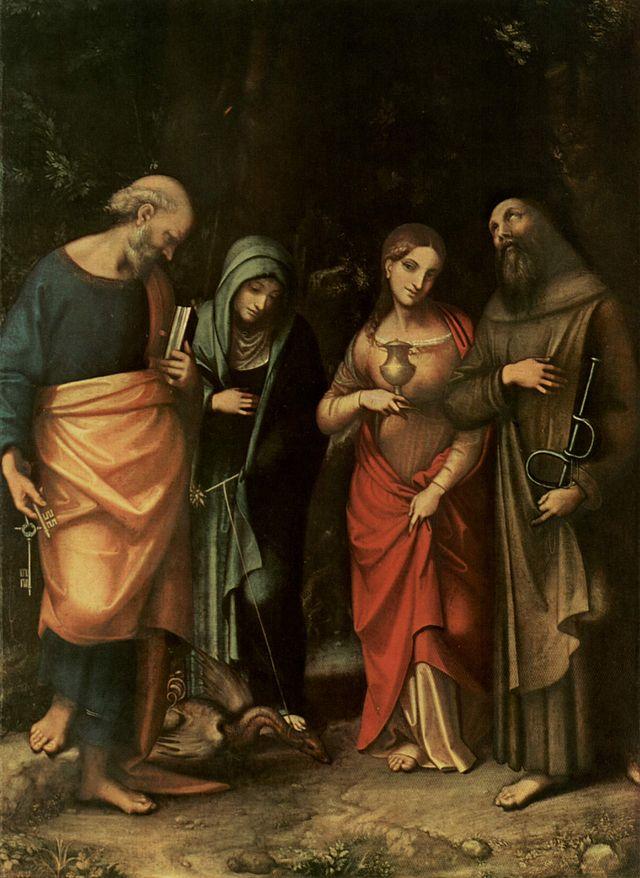 De hellige Peter, Marta, Maria Magdalena og Leonard, av Antonio Allegri da Correggio (1489-1534), oftest kjent som Correggio