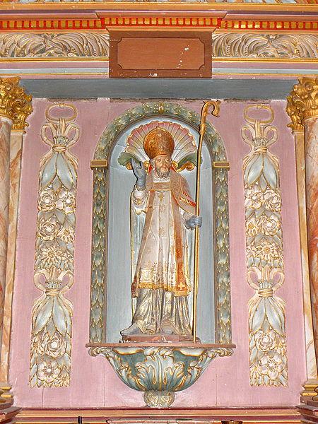 Église Saint-Julien du Mans de Couesmes-en-Froulay, commune de Couesmes-Vaucé (53). Statue de saint-Julien.