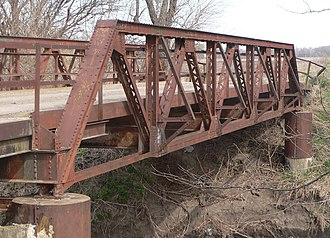 National Register of Historic Places listings in Brown County, Kansas - Image: Coyote Road x Delaware River bridge E truss from outside 1
