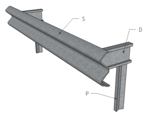 Traffic barrier - Components of a standard guiderail (A-profile): S – guardrail, D – distance piece/spacer, P – sigma post