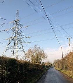 Crossed wires, Nursling - geograph.org.uk - 1722670.jpg