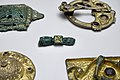 Cultural History (historisk) Museum Oslo. VIKINGR Norwegian Viking-Age Exhib. 04 Decorative mounts prod. in the British Isles in the 700s, from raids of sacred objects, refashioned as brooches, etc 800-1000 838.jpg