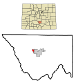 Custer County Colorado Incorporated and Unincorporated areas Westcliffe Highlighted.svg