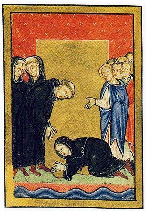 Cuthbert - Cuthbert meets Ælfflæd of Whitby on Coquet Island, Bede's Life of Cuthbert, 12th century