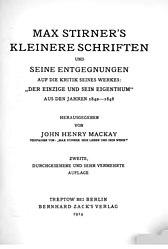 Max Stirner: Max Stirner's Kleinere Schriften