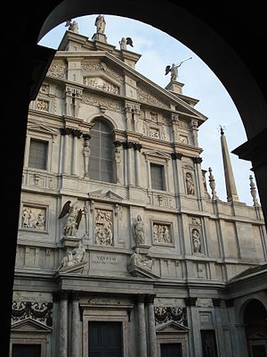 Simon Boyleau - Façade of Santa Maria presso San Celso.  Boyleau, in 1558, was the earliest documented choirmaster at this church.