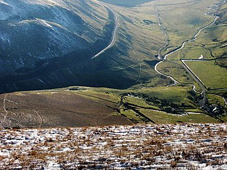 Lowther Hills - View into the Dalveen Pass (looking South) from Cold Moss in the Lowther Hills, Upper Dalveen House right foreground, Southern Uplands of Scotland.