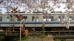 File:De overweg Nr. 53 op de Tōbu Sano-lijn bij de oever van de Akiyama in Sano wordt gepasseerd door treinstel 8561F (Tc8661 + Mc8561), -7 april 2019.webm