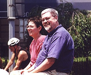 Lambda Rising - Deacon Maccubbin (in purple shirt), founder and co-owner of Lambda Rising, at the Capital Pride gay parade, in 2003.