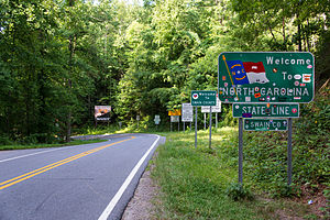 Deals Gap, North Carolina - Crossing Deals Gap into North Carolina