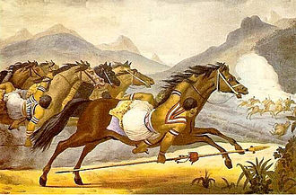 Mbayá - Guaycuru (probably Mbayá) at war in Brazil in the early 19th century.