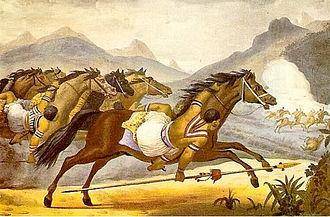 Guaycuru peoples - Image: Debret Carga de cavalaria guaicuru