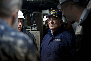Defense.gov News Photo 111117-D-BW835-002 - Secretary of Defense Leon E. Panetta listens to a brief from workers from General Dynamics Electric Boat aboard the USS Mississippi in Groton Ct.jpg