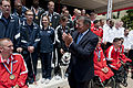 Defense.gov News Photo 120625-D-TT977-243 - Secretary of Defense Leon E. Panetta applauds the athletes at the 2012 Warrior Games Recognition Ceremony in the Pentagon Center Courtyard in.jpg