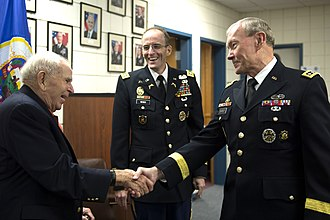 John William Vessey Jr. - Vessey (left), greets U.S. Army general and Joint Chiefs chairman Martin E. Dempsey (right) at the Minnesota National Guard Armory in Rosemount, Minnesota, on August 16, 2012.