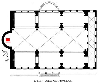Colossus of Constantine - The west apse of the Basilica of Maxentius — the original location of the Colossus — is indicated in red.