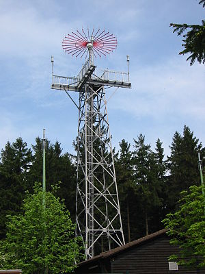 Aeronautical radionavigation service -  VHF direction finder antenna of the ARNS on Deister nearby Hanover