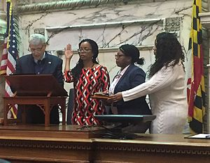 Robbyn Lewis - Maryland House Speaker Mike Busch swearing in new Delegate Robbyn Lewis