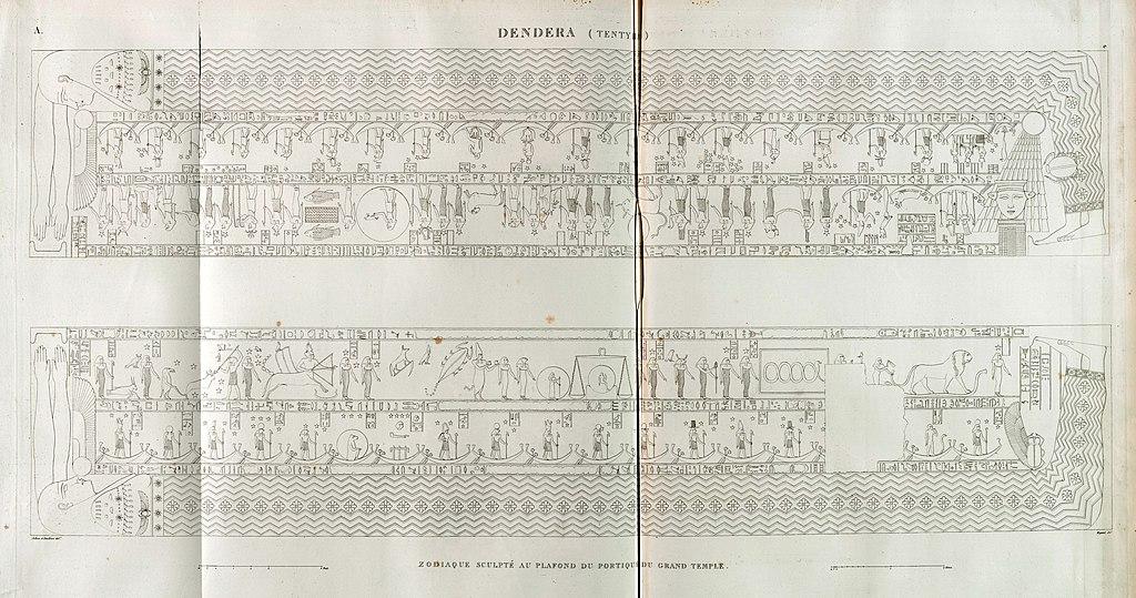 Denderah (Dandara) (Tentyris). Zodiaque sculpté au plafond du portique du Grand Temple. (Outline) (NYPL b14212718-1268113)