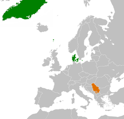 Map indicating locations of Denmark and Serbia