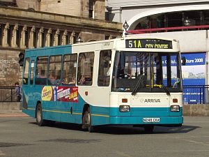 East Lancs EL2000 - East Lancs EL2000 body on Dennis Dart with a double-curvature windscreen with an arched top.