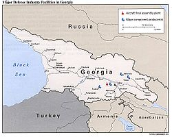 Map of Georgia, indicating defence plants