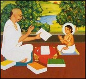 Swaminarayan - Dharmadev teaching Ghanshyam from the scriptures