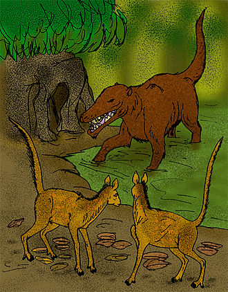 Tylopoda - Life restoration of the primitive artiodactyl Diacodexis pakistanensis (foreground) getting stalked by Pakicetus