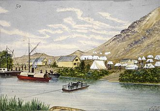 Waihou River - A painting of the Waihou River, entitled Dibsell's Landing, by John Philemon Backhouse