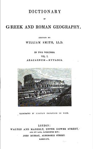 Dictionary of Greek and Roman Geography - Title page to the 1856 edition of The Dictionary of Greek and Roman Geography, vol. 1.