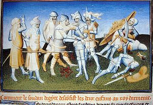 Mongol invasions of the Levant - The Mamluks defeated the Armenians and captured the prince Leo at the disaster of Mari, 1266: illumination from Le Livre des Merveilles, 15th century.