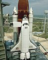 Discovery during STS-31 prelaunch preparations.jpg