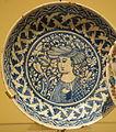 Dish with a portrait, medallion-mark on base, Iran, Isfahan, mid 17th century, underglaze-painted stonepaste - Royal Ontario Museum - DSC04697.JPG