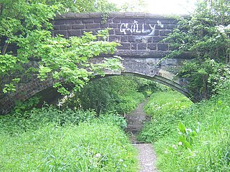 Otley and Ilkley Joint Railway - Former railway line between Guiseley and Yeadon under St Johns Road (2005)