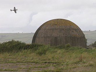 RAF Pembrey - Disused dome training facility and Spitfire, 2007