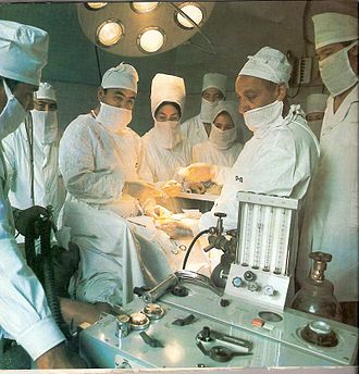 Grigory Sarkisovich Grigoryants - Doctor G.S.Grigoryants ( center right) and his surgical team performing an operation. The Head Surgeon built a superb group of medical professionals that consisted of mostly his best and brightest students. This image also appeared in Soviet Uzbekistan magazine as well as in Namangan Region booklet.