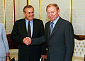 Donald Rumsfeld and Leonid Kuchma pose for photographers, 2001.jpg