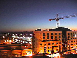 Late night construction downtown Bend Oregon