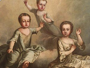 Archduchess Maria Elisabeth of Austria (1737–1740) - Three floating children of Martin van Meytens: The young deceased daughters of Maria Theresia (Maria Elisabeth right)