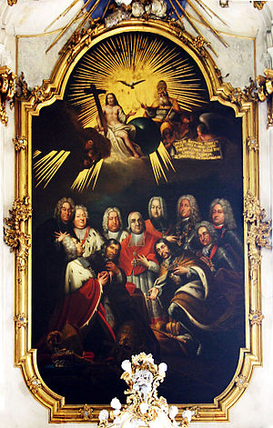 Schönborn family - Altarpiece from 1745 at Gaibach Church: Three generations of the Schönborn family