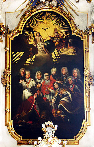 Johann Philipp von Schönborn - Three generations of the House of Schönborn. Johann Philipp, second from left, front row.