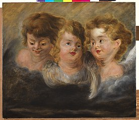 Three angel heads in clouds (left panel)