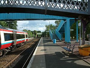 Dunblane railway station - Southbound train in Strathclyde Partnership for Transport colours